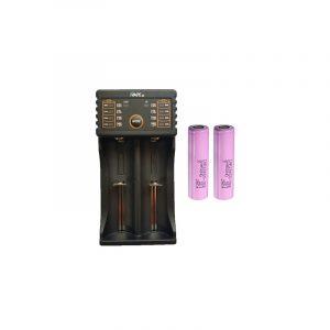 Kit Cargador Dual iVape i2 + 2 Baterías 18650